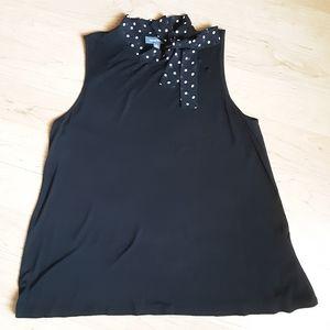 Modcloth Black tie neck Sleeveless Blouse Size XL